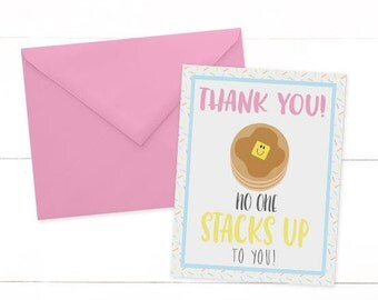 Pancakes and Pajama Party Thank You Card - Pancake Thank You Card - Breakfast Birthday Thank You - Rise and Shine Birthday Party - Sleepover