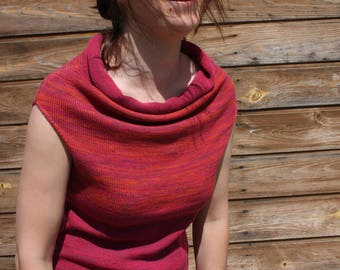 Red sleeveless Sleeveless sweaters Cowl neck tank top Cowl neck shirt Purple red knit top Cowl neck shirt with loose neck Red drape neck top