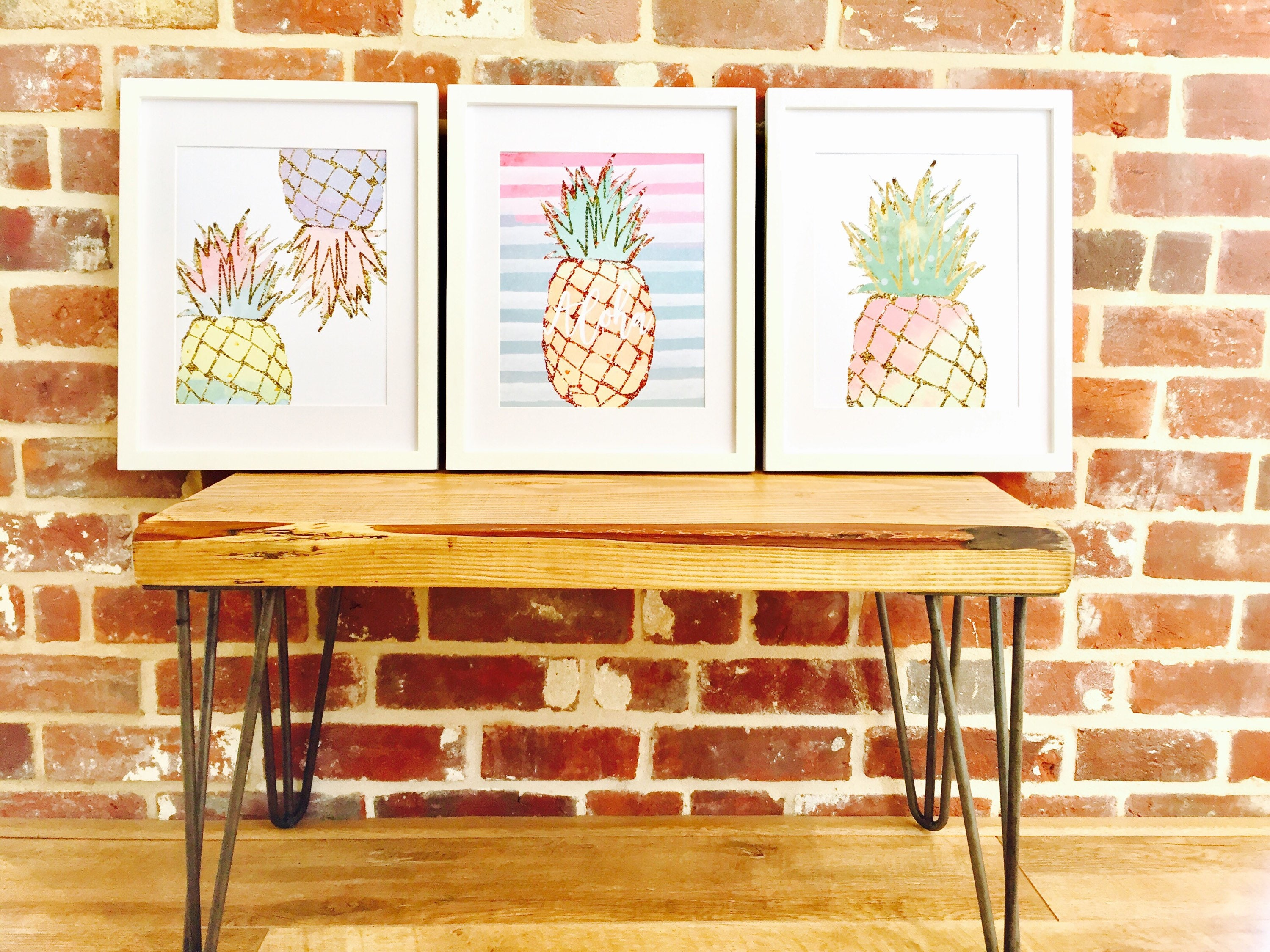Pineapple prints set of 3 tropical theme decor for Tropical themed kitchen