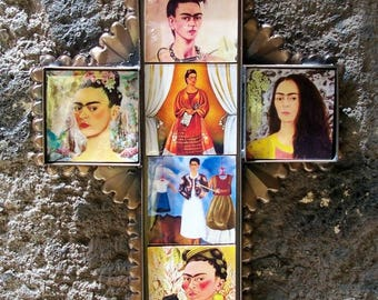 "Frida cross Mexican folk art ceramic tiles and metal collection of Frida portraits Hacienda decor wall art 8 3/4"" x 7""x 0 .5"""