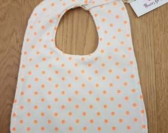 SUMMER SPOTS - Fluro orange on white | Baby bibs with absorbent terry towelling backing - 2 sizes available