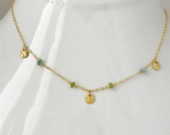 Peridot Necklace Apatite Necklace Dainty Necklace Minimalist Necklace Layering Necklace August birthstone March Birthstone  Delicate