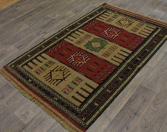 Great Shape Tribal Hand Woven Tribal Sumak Persian Rug Oriental Area Carpet 4X6