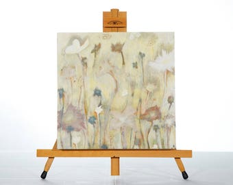 "Abstract Painting Art Acrylic Original // ""Forgotten Wilderness"" wooden panel unframed size 12x12"" (30x30cm) by Juliette Anne"