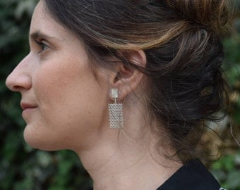 Modern Earrings, Statement Geometric Earring, Architectural Earrings, Modern Silver Jewelry, Statement Earring Modern, Statement Earrings
