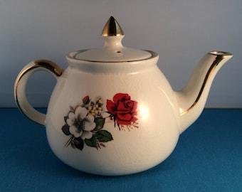 Vintage Gibsons Staffordshire England Mini Tea Pot - Personal Teapot - Teapot for One - 2 Cup Teapot - Collectible Teapot - Flower Design