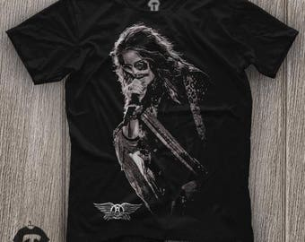 Aerosmith Steven Tyler Unisex Black T Shirt Graphic Tee Aerosmith Steven Tyler Men Shirt Aerosmith Steven Tyler Girl Shirt Size S M L XL 2XL