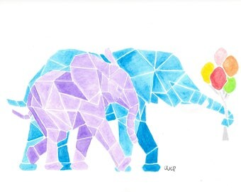 Geometric Watercolour Elephants Print