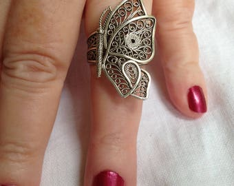 Butterfly Ring in Sterling Silver Filligree