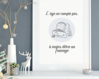 Cheese, cheese, cheese quote illustration poster