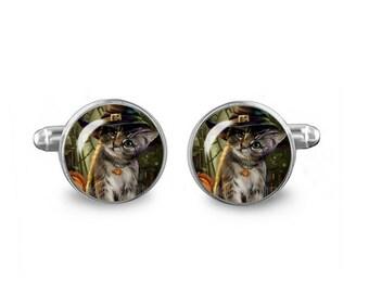 Halloween Kitten Links 16mm Cufflinks Gift for Men Groomsmen Novelty Cuff links Fandom Jewelry