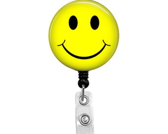 Smiley Face - Badge Reel Retractable ID Badge Holder