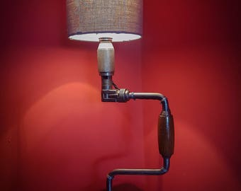 Vintage Industrial Lamp Made From Upcycled Brace Drill and Brake Disc