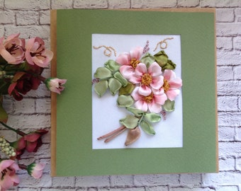 Mothers Day  card - 1st mum birthday with 3-D Pink Apple flowers  Hand embroidered with Silk ribbons Flower card for mom