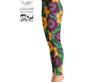 Bold Island Floral Print Leggings | Wild Leggings | Festival Leggings | Boho Leggings | Yogi Pants | Yogawear | Yogagear | Loopy Jayne
