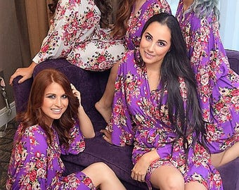 Cotton Robes, Bridesmaid Robes, Wedding Shower Robe, Floral Robe, Maternity Gown, Delivery Robe, Baby Shower Gift, Nursing Robe