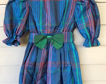 80's Yves Saint Laurent Child's Big Taffeta Plaid Dress with Green Bow and Puffy Sleeves Size 4 | Victorian Inspired | Edwardian Inspired