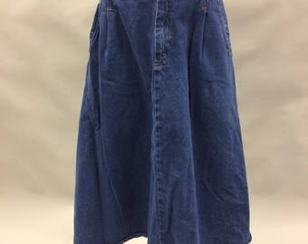 80's 90's High Waisted Dark Denim Button Front Long Skirt | Size Small 4 6 | Midi Length | Below Knee | A Line