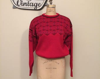 Vintage Slouchy 80-90's Red Fun Ski Sweater Size Medium | Meister | Oversized | Nordic Look | Snowflake | Geometric Pattern