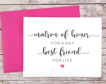 Matron of Honor for a Day Best Friend for Life Card, Matron of Honor Card, Cute Matron of Honor Card, Matron of Honor Proposal - (FPS0052)