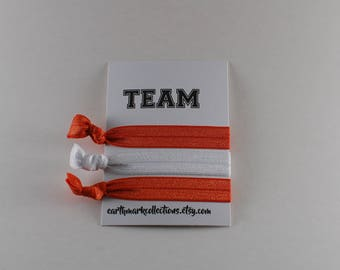 Team Hairties | Orange White | Set of 3 FOE Hair ties | College University Sports Hairbands | No Crease Football Ponytail holders