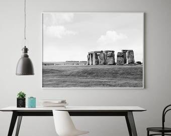Stonehenge Print, England Photo, Large Travel Print, Black and White, Office Photo Art, Stonehenge England, Historic England, Famous England