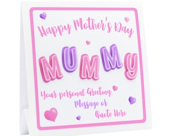 Mother's Day Card 3D. 1st Mothers Day, Mum Birthday Card, 3D MUMMY with Choice of Personalisation, Handmade Mummy Card.