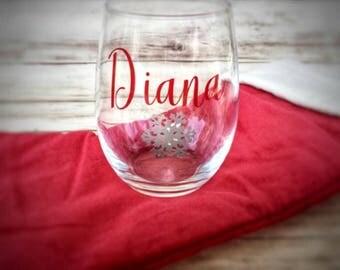 Personalized Stemless Wine Glass, Christmas Wine Glass, Winter Wedding Wine Glass, Holiday Gift, Monogram