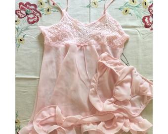 Vintage 1990s Baby Pink Chiffon Babydoll Lingerie Set Tank and Panties Size Medium // 6-8