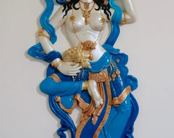 Free Floating Goddess Wall Sculpture ~ white with blue