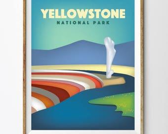 Yellowstone Poster, PRINTABLE Yellowstone National Park Kid nursery Modern home decor (#P373)