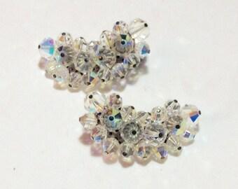 Vintage Kidney Shaped Aurora Borealis Clip Earrings