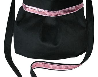 Pink bag purse black velvet and sequined band