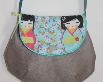 Small grey girl chic bag with Japanese dolls