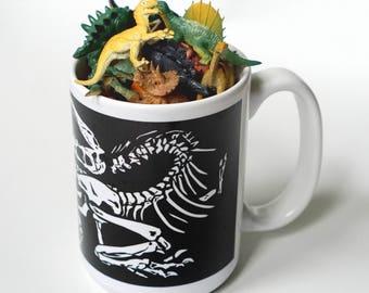 Dinosaur ceramic mighty mug | Fossil Death Pose 15oz / 426ml drinks mug  'DINO DEATH POSE', by Vector That Fox