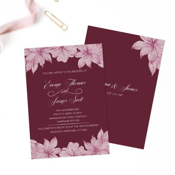 Floral wedding invite, Country wedding invitation suite, Boho wedding invitation, Bohemian wedding invitation, Boho wedding invite A5