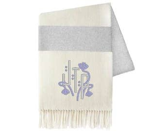 Monogrammed Throw, Grey Stripe
