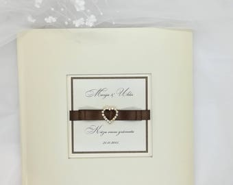 Personalized Wedding Guest Book, Diamond accessory, Satin Ribbon, Ivory Wedding Guest Book, High Quality Guest Book, Diamond, Handmade