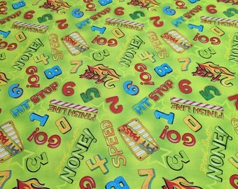 Race Day-Words on Green Cotton Fabric from Wilmington Prints
