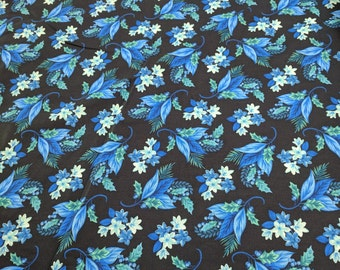 Something Blue-Flowers on Black Cotton Fabric from Henry Glass