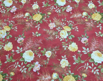 Quest for a Cure-Flowers on Red Cotton Fabric from Northcott Fabrics