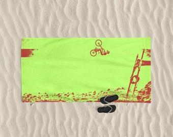 Beach Towel, Men beach towel, bike art, mountain bike art, Cycling Art, Beach Gift, Men gift, Cycling Gift, Beach Art, BMX bike, bicycle art