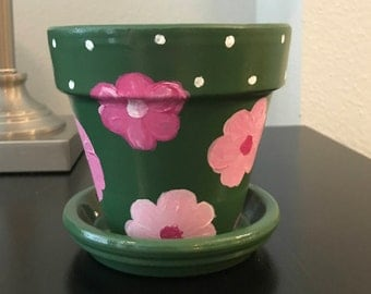 Green Floral Flower Pot