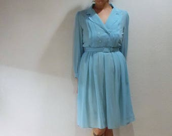 Gorgeous Vintage Baby Blue 1940's Henry Lee Petite's Dress with matching Belt