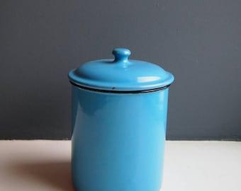 Vintage Blue Enamel Kitchen Storage Tin, Retro Lidded Pot, Enamelware, Vintage Kitchenalia, Enamel Storage Container, Lidded Canister, Gift
