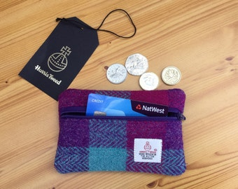 Harris Tweed coin purse -  small Harris Tweed purse - purple purse - wool purse - gift for mum - coin pouch - change purse - zippered purse