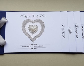 Handmade navy blue Cheque Book wedding invitation with heart design