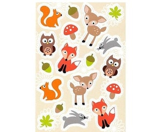 Forest Animals Stickers 3 Paper Sheets 12x8cm, Kids Stickers, Childrens Stickers, Cute Animals Self-adhesive Stickers, Scrapbooking, Gluing