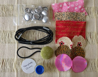 DIY 6 fabric button hair ties | 12mm self-cover buttons and tool | recycled fabric | hypoallergenic aluminium | Scunci hair ties