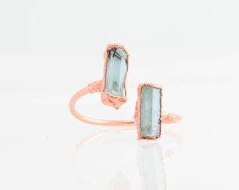 Raw Aquamarine Ring, Rose Gold Aquamarine Open Ring, Raw Adjustable Ring, Blue Aquamarine Statement Ring, March Birthstone Ring, Two Gems